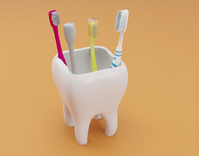 3D print model Tooth Toothbrush Holder