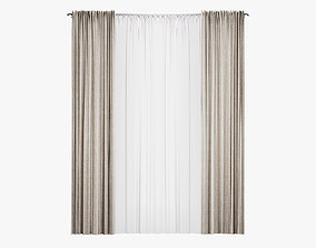 Straight curtain with tulle furniture 3D model