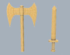 3D asset Cardboard weapon