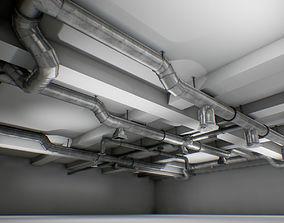 3D asset interior air ducts modular system 38 elements