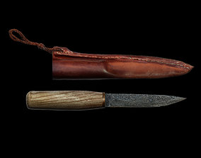 game-ready Knife and sheath midieval 3D scan