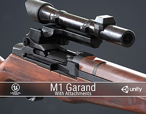 3D model PBR M1 Garand and Attachments