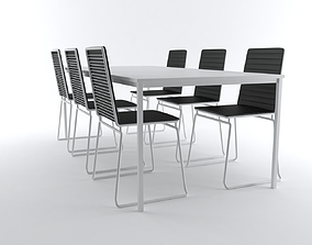3D Modern Table and chair set presentation