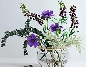 Bouquet in Ikebana vase 3D