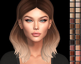 Female hair style rigged 3D rigged realtime 1