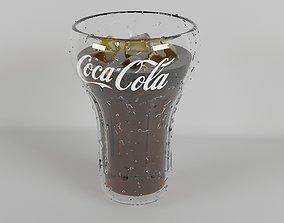 drops Coca-cola glass 3D