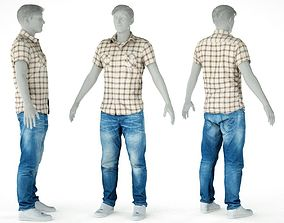 Male Casual Outfit 61 Shirt Jeans Footwear 3D asset