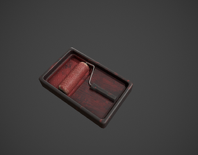 3D model Paint Roller and Tray - Red Paint