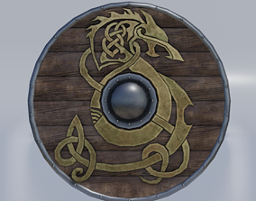 Viking shield 3D model low-poly