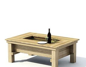 Wood Table With Wine 3D model