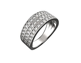 3 Row Pave Ring 3D printable model