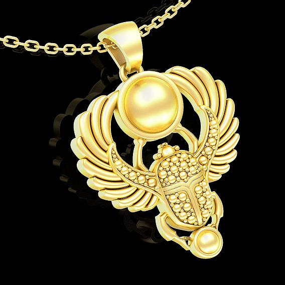 Scarab Egyptian symbol pendant jewelry gold necklace medallion 3D print model