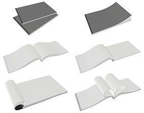 3D model Brochure A5 size closed and opened for mock-up