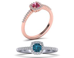 Cushion Diamond ring printable 3dmodel