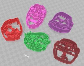 Teens Titans Go 5 Piece Set of Cookie 3D printable model 1