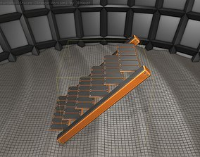 Sci-Fi Stairs - 15- Orange Version 3D asset