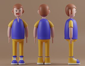 Male cartoon characters base mesh 3D model