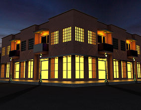 sketchup 3D model High Quality Corner Building with Shop