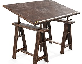 3D asset Old Drafting Table PBR