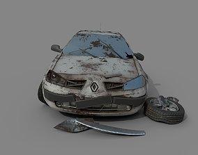 3D Wrecked destroyed Car Renault Megane