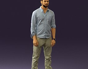 3D Man in blue top white jeans 0437