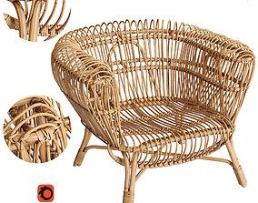 3D Handwoven Rattan and Kubu Roll Arm Calida Chair
