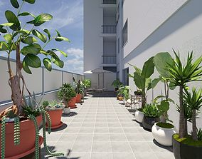 Corridor with decorative greenery 3D model