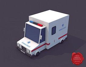 Low Poly Ambulance Car 3D model