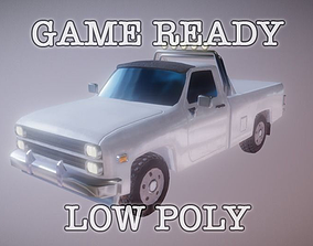 Eghties Pickup Truck low-poly game ready 3D model