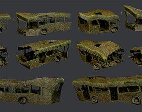 3D asset 3 Apocalyptic Damaged Destroyed Vehicle Bus 2