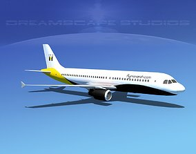 3D model rigged Airbus A320 LP Monarch