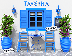 3D Greek Taverna Terrace