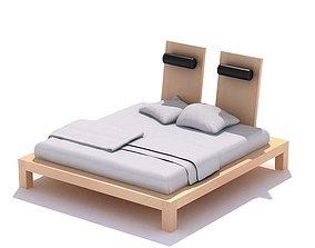 3D Modern Light Wooden Bed