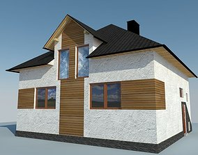House 3D model low-poly residential-building