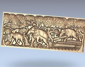 elephants forest relief 3d model engraving