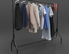 character Set of Casual Clothes on a Hanger 3D model