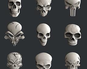 3d STL models for CNC set skulls