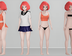 Anime Character Cute Girl 3D asset