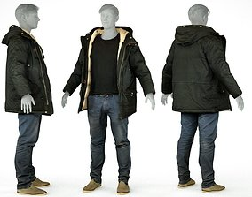 Male Casual Outfit 65 Coat Jeans Footwear 3D model