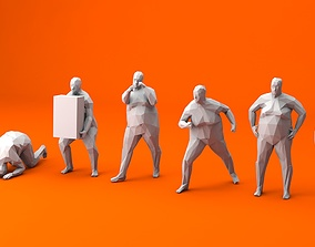 3D model 7 Fat Lowpoly People
