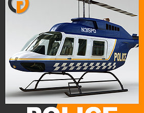 Helicopter Police Bell 206L with Interior 3D
