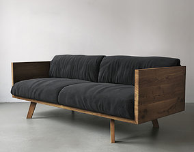 3D Oak and Linen Sofa