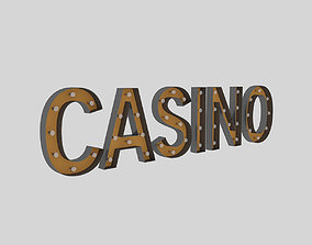 3D model Casino Sign With Bulb