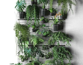 Wall Grid with Pot Plants 3D