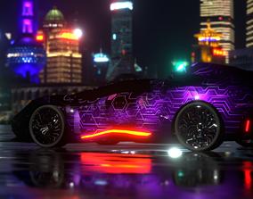 Avax - Cyberpunk car - 5k polygons - TWO 4K 3D model 1