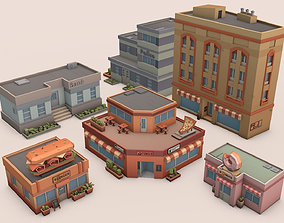 3D asset game-ready Low Poly City
