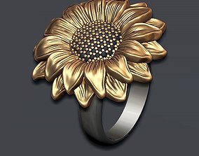 Sunflower ring 3D printable model