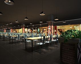 Food court Industrial style 3dmax rigged