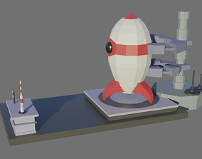 Low Poly Rocket with Launch Pad 3D model