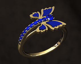 gold Butterfly Ring 3D printable model